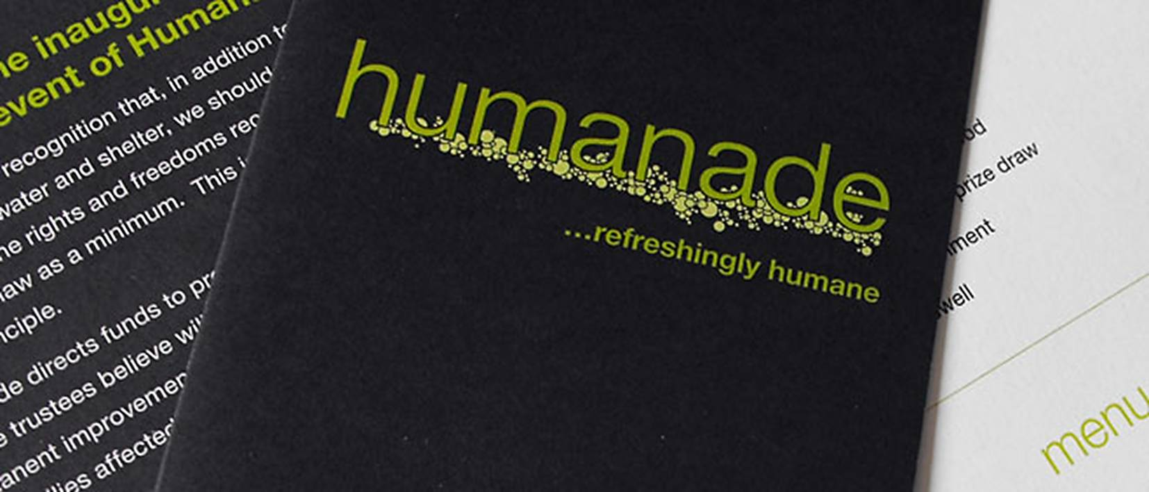 humanade logo on printed cards
