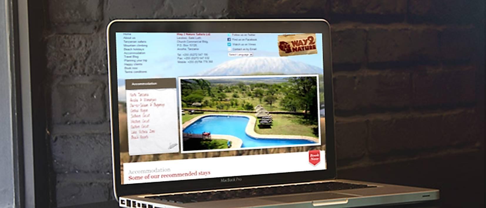 w2n website design on laptop on table