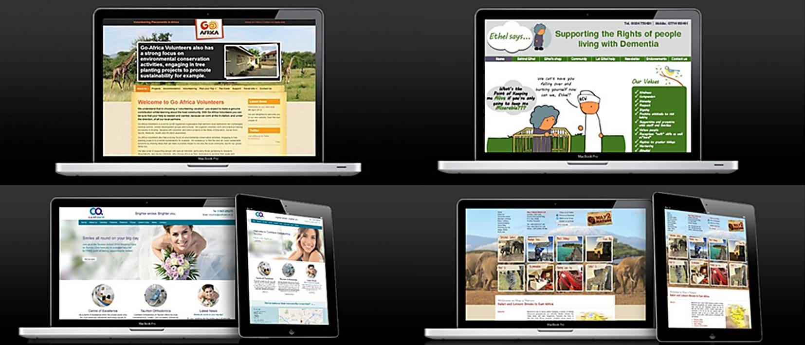 multi website screens and computer tablets