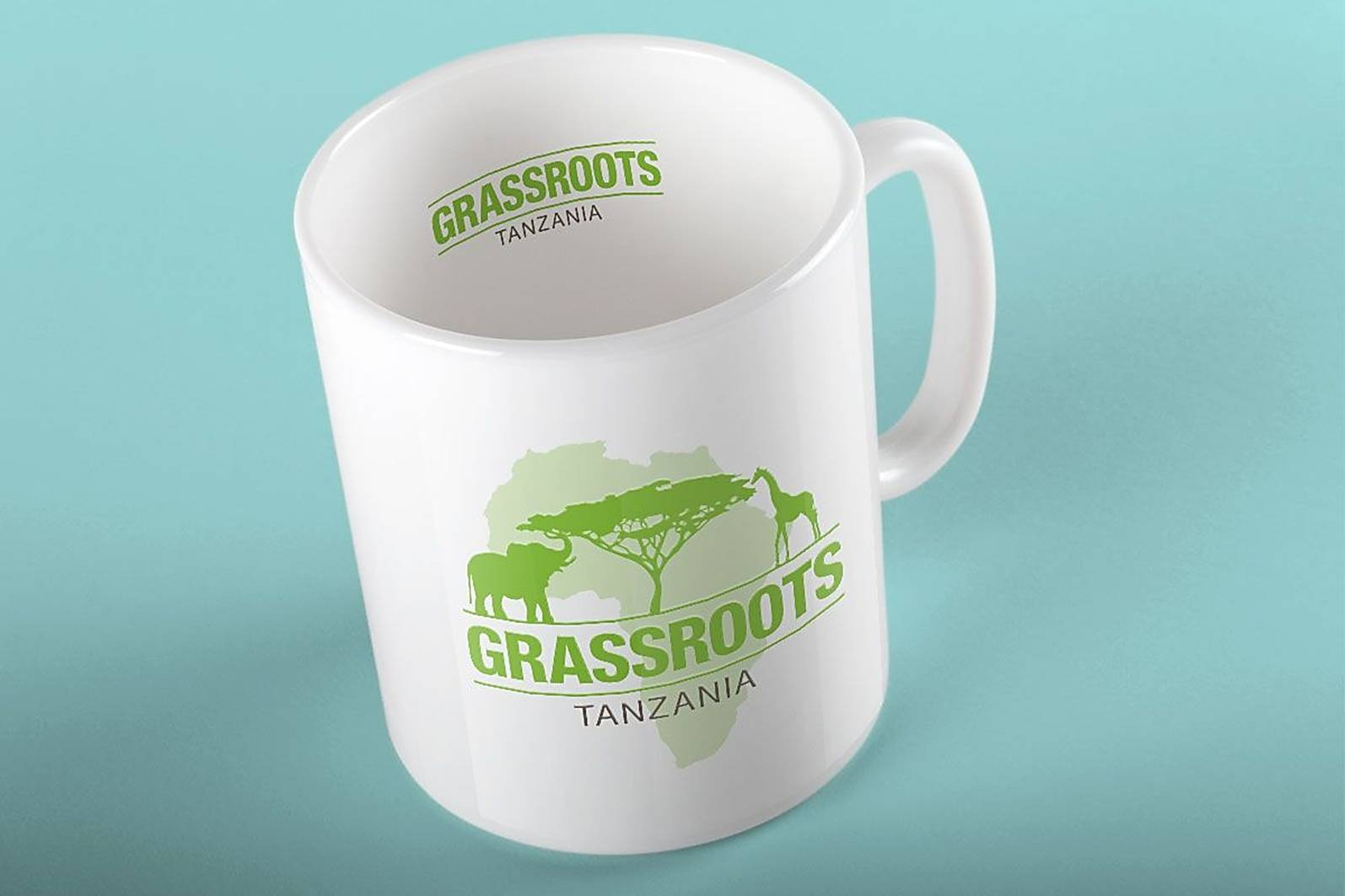 illustrated logo on mug