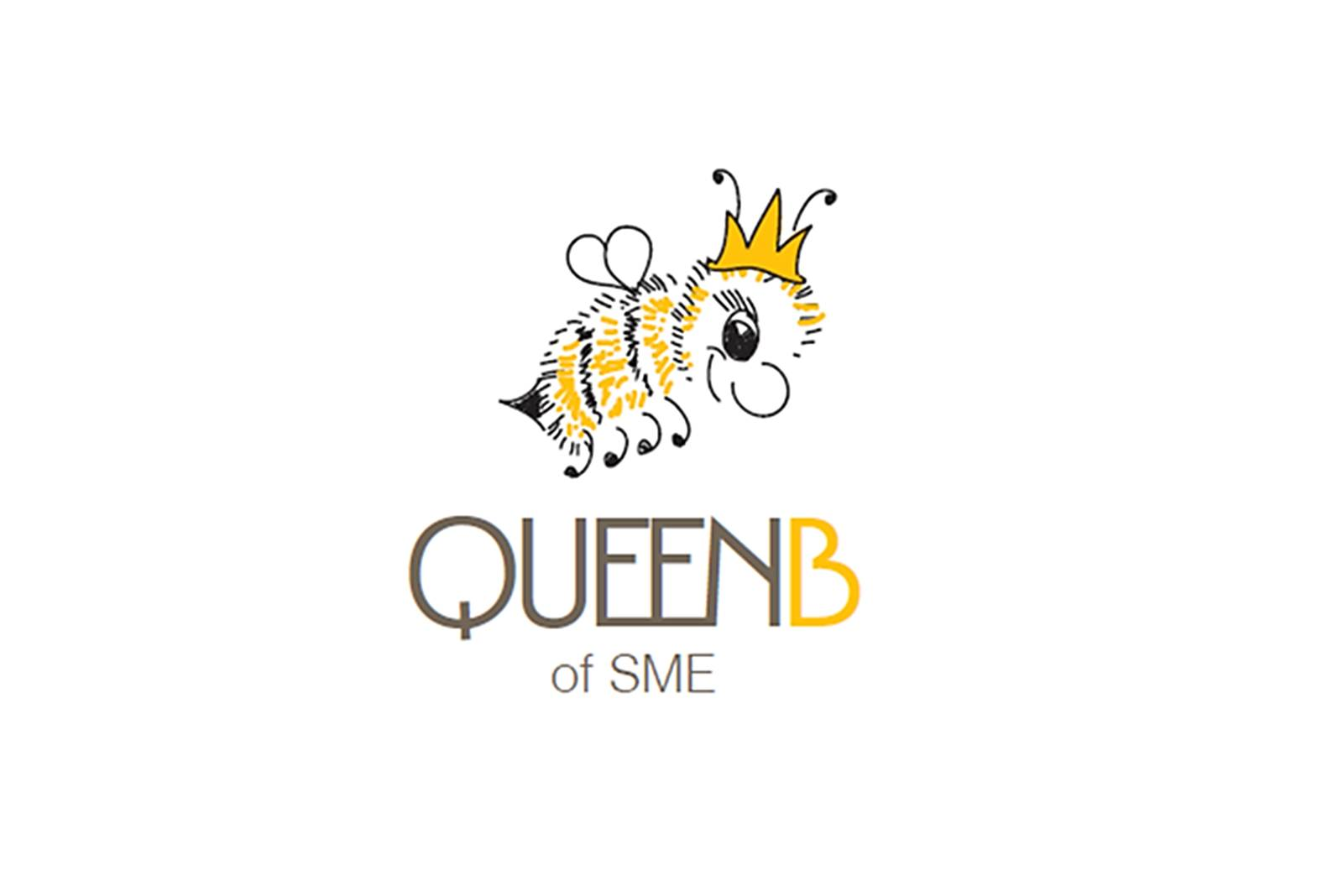 large bee illustration and logo