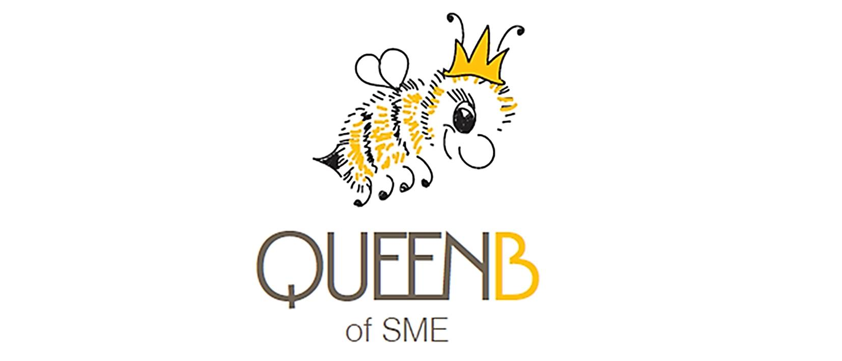 QueenB logo design, bee illustration