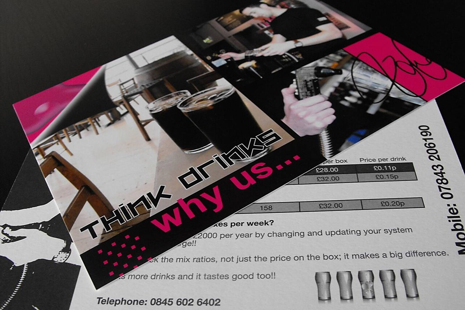 business cards and price list